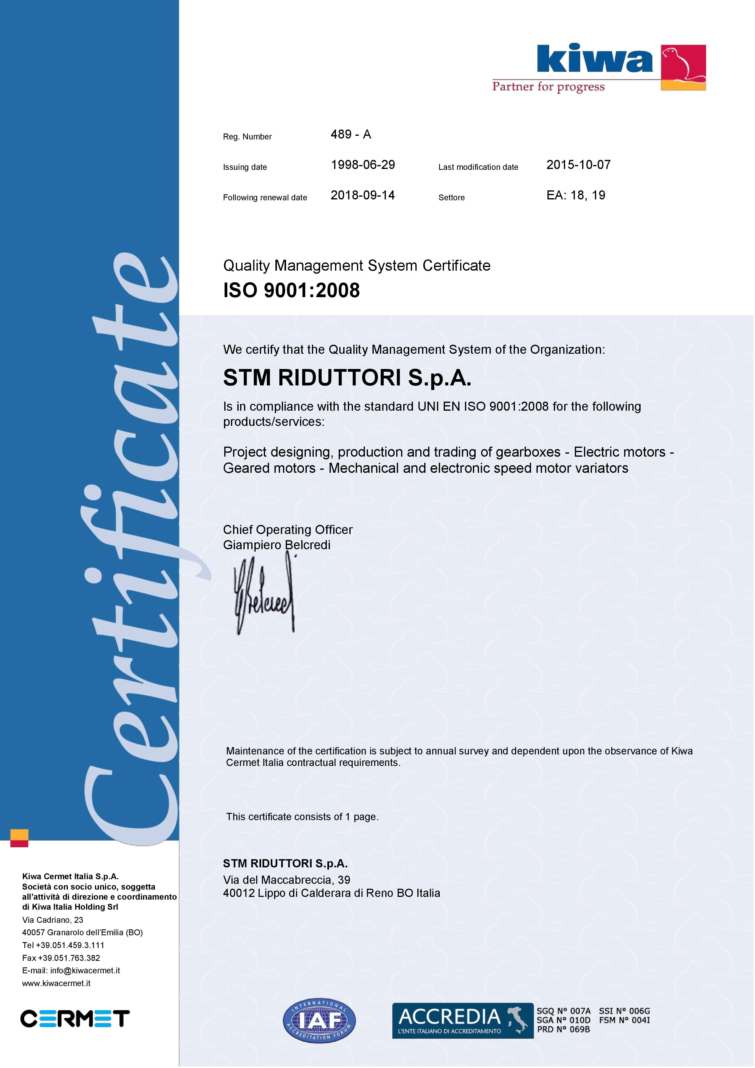 The Quality Iso 9001 Of Power Transmission Sector Stm Spa