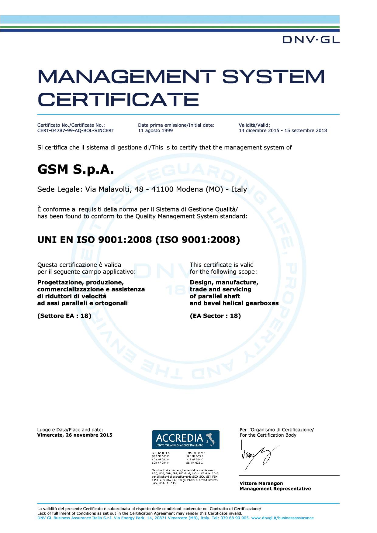 the quality iso 9001 of power transmission sector