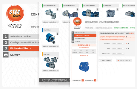 CONFIGURATOR OF STM TEAM GEARBOXES, MOTORGEARBOXES AND SPEED VARIATORS